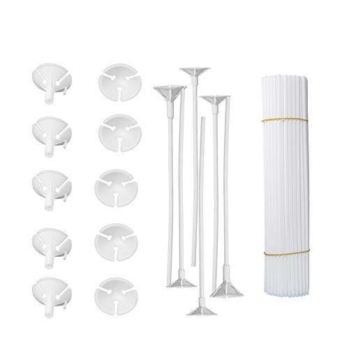 Onepine 50 Pcs White Balloon Sticks Holders with Cups for Wedding Party Holidays Anniversary Decor