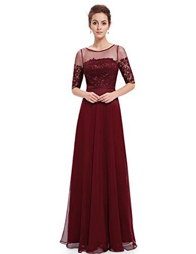 Sera Borgogna pretty Quarti 08459 Donna Da Ever Lunghe Tre Vestito Con Abito Maniche A UqdIO