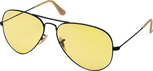 Ray-Ban Men's 0rb302590664a58aviator Large Metal Aviator Sunglasses, Matte Black, 58 - Lens Ban Yellow Ray