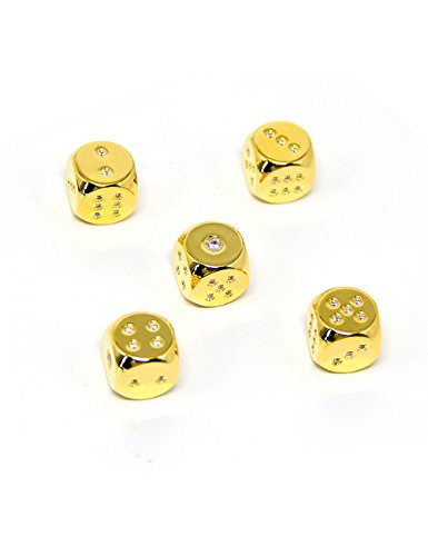 Gold Plated Dice (Callancity 2pcs handwork rhinestone diamonds encrusted 24kt real gold plated game custom dice)