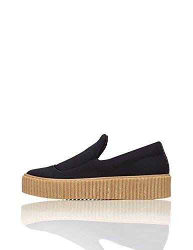 Sohle Naht Plateau Dekorative Damen Gerippte Schuhe Black Schwarz FIND xpI6AqZx