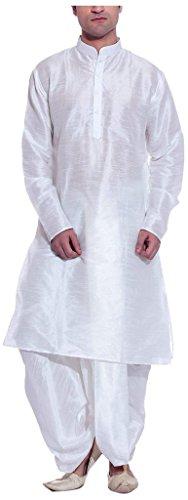 Royal Kurta Men's Kurta Raw Silk Kurta & Dhoti 40 Beige