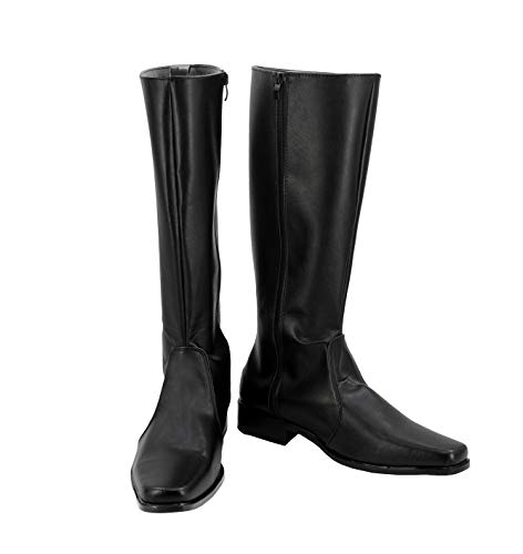 Allten Mens Stormtrooper Black Leather Boots Shoes Halloween Cosplay Costume (11 M US Male)