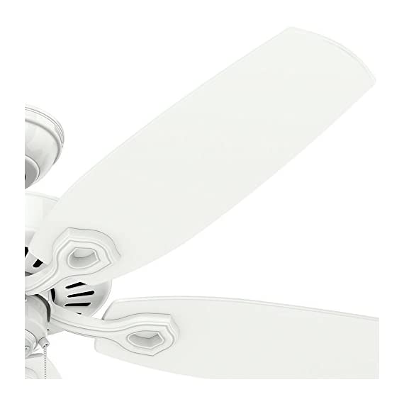Hunter Indoor Ceiling Fan, with pull chain control - Builder Elite 52 inch, White, 53240 3 WhisperWind motor delivers ultra-powerful air movement with whisper-quiet performance so you get the cooling power you want without the noise you don't Reversible motor allows you to change the direction of your fan from downdraft mode during the summer to updraft mode during the winter 5 Snow White Composite blades included