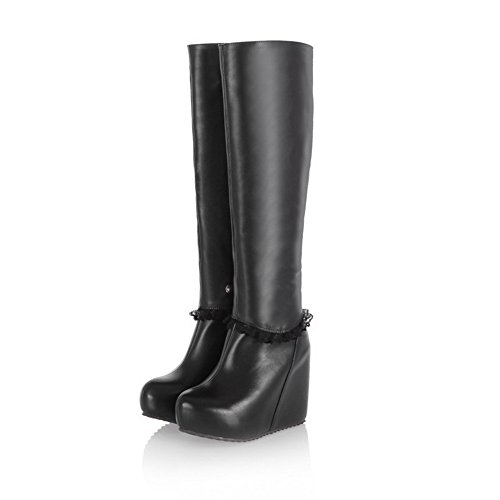 Closed Zippers Heels 5 Black 9 and Womens Solid Toe B High M Ornament Round US AmoonyFashion Boots Lace with 1wqxgSEw