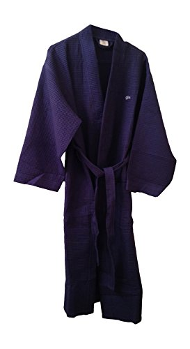 Mens Spa Robe, Waffle Cotton, Embroidered with His, Navy by CS (Texere Silk Robe)
