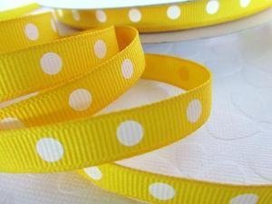 Roll of 50 yards Dippy Polka Dots Grosgrain 3/8 Ribbon (R134-25) Yellow/White US SELLER SHIP FAST by www.embellishmentworld.com