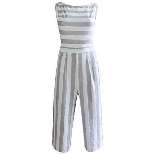 Teebu Fashion Women's Jumpsuits Summer Casual Sleeveless Striped Jumpsuit Casual Clubwear Wide Leg White