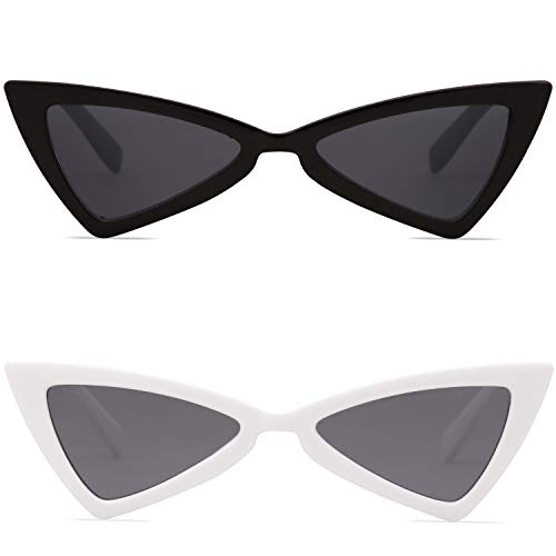 SOJOS Designer Cateye Triangle Sunglasses High Pointed Flat Mirrored Lens SJ2051 with Black Frame/Grey Lens + White Frame/Grey Lens 2 Pairs of ()