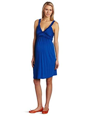 Maternal America Women's Maternity Layered Ruffle Dress, Royal, X-Small