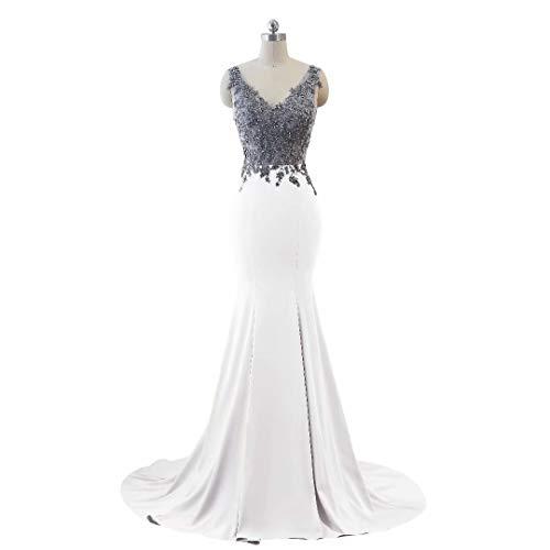Abendkleid Formale Ausschnitt Frauen Lange Party Weiß Doppel Mermaid Kleider V qtESZp
