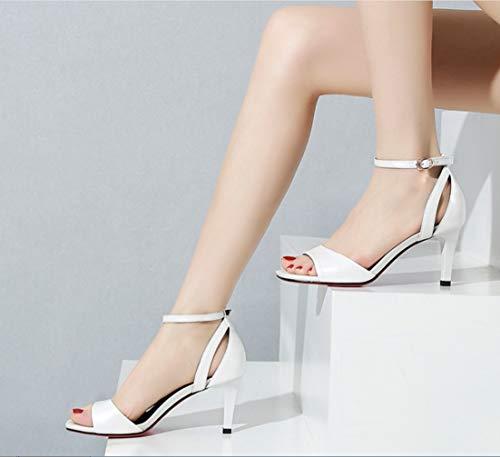 Para High De Sandalias Lady Shoes Hechas Liangxie Banda Piernas Mujeres Peeps Verano Open Blanco A Genuino Toe Las Mano Heels Ultimate Cuero Tacón 5xUYZwqZ