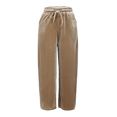 POQOQ Pants Women Fahion Gold Velvet Loose Comfort Trousers Wide Leg Causal L Coffee