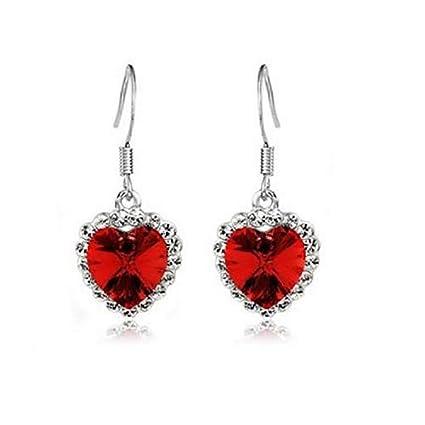 e25adfbc329e Bruselas08 1 par de pendientes de gancho incrustados con circonita y  cristales en forma de corazón