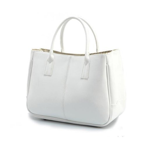 Faux Tonwhar Leather Snap Office Lady Summer Tote Handbag Magnetic White Purse tRR6HFqwx