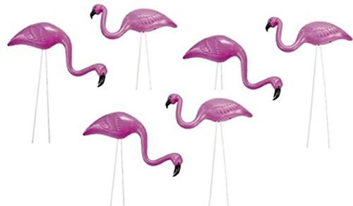 6 mini Pink Flamingo Mini Yard / Garden Ornaments Beautiful Birds]()