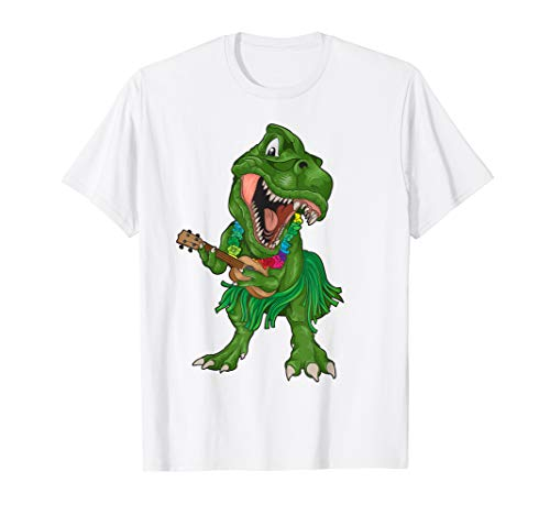 Hawaiian T-Rex Playing Ukulele Shirt | Dinosaur Funny Gift ()
