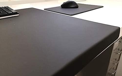 Gewinkelte Schreibtischunterlage mit Kantenschutz + Mousepad Echt Leder Schwarz 90 x 47cm Echt Rindsleder glatt