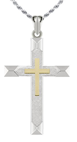 "1.25"" Solid 0.925 Sterling Silver and 14k Gold Cross High Polished Pendant Necklace, 18in to 24in"