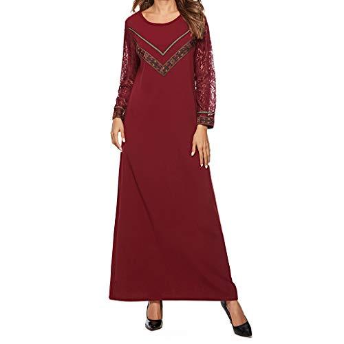 Woman Muslim Dress,HOSOME Muslim Dress Dubai Kaftan for Women Arabic Long Dress Abaya Islamic Clothing Girls Caftan Jalabiya Red