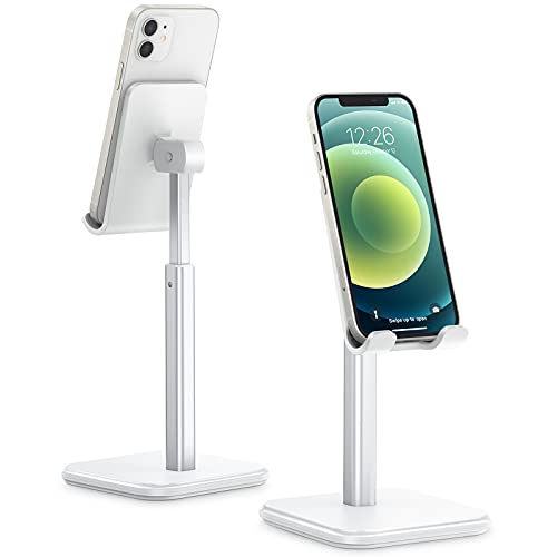 apiker Phone Stand, Sturdy Cell Phone Stand Holder Desk with Adjustable Height Angle, Larger Anti-Slip Bottom Base for Desktop, Nightstand, Fit for iPhone 11 12 Mini Pro Max (3.5-7.0 Inch), White