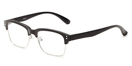 Readers.com The Pluto +1.25 Matte Black Trendy Square Browline Readers Reading - Browline Glasses