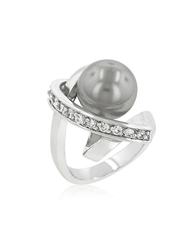 Genuine Rhodium Plated Ring Knotted with a Dark Grey Simulated Pearl Bordered by Round Cut CZ Size 7