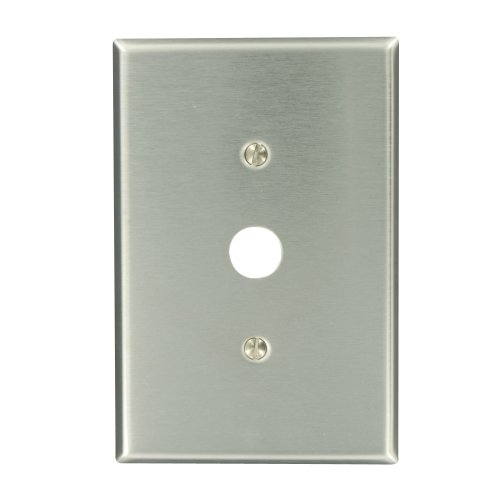 Leviton 84137-40 1-Gang .625-Inch Hole Device Telephone/Cable Wallplate, Oversized, Strap Mount, Stainless Steel