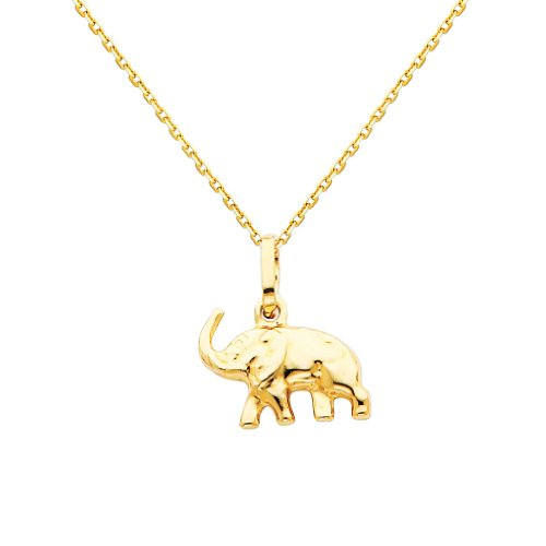 (The World Jewelry Center 14k Yellow Gold Elephant Pendant with 0.9mm Cable Chain Necklace - 20