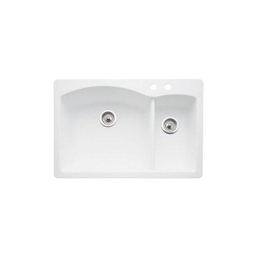 ond 2-Hole Double-Basin Drop-In or Undermount Granite Kitchen Sink, White ()
