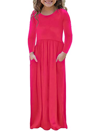 AlvaQ Girls Casual Fall Long Sleeve Soft Solid A Line Pleated Long Maxi Dress Size 4 5 6 Years Old -