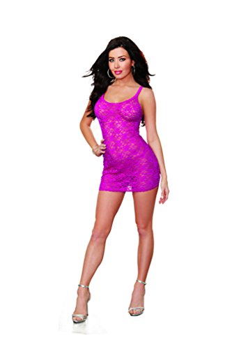 Dreamgirl Women's Stretch Lace Coral Chemise with G-String Set, Magenta, Medium