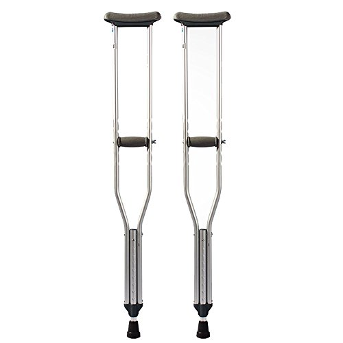 (Underarm Crutches,Push Button Adjustable Crutches, Aluminum Crutches with Pads and Handgrips Accessories for Adult, Silver and Gray(1 Pair))