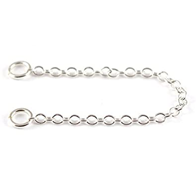 ANTOMUS® 2.5 INCH QUALITY CLIP ON SAFETY CHAIN SOLID SILVER (925) 1.5mm WIDE 5mm BOLTRINGS . PX26oIp3