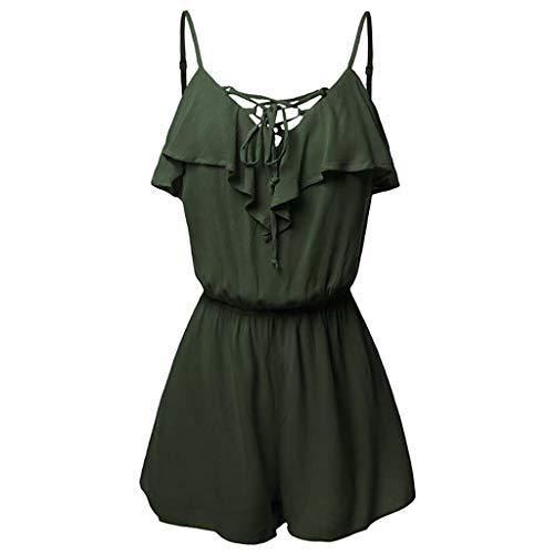 (WANQUIY Women Boho Crochet V Neck Plus Size Backless Lace Fashion Summer Romper Jumpsuits Green)