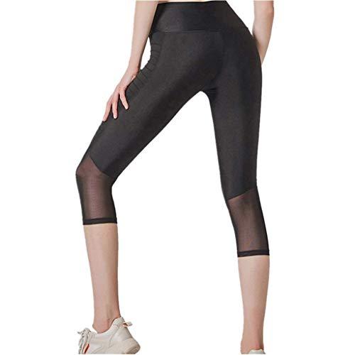 SPORTTIN Capri Leggings for Women Plus Size Ultra Soft High Waist Stretchable with Mesh Workout Yoga Leggings(Black,US Size M = Tag L)