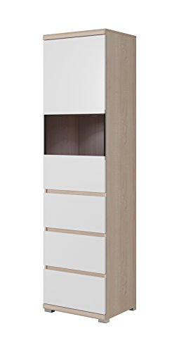 Olav Collection Furniture – Storage Cabinet with Door and Drawers - Living Room Furniture - Functional Fashion in Muted hues –Tall Cabinet - White and Sonoma Oak ()