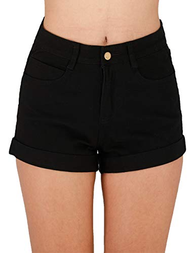 Haola Women's Juniors Vintage Denim High Waisted Folded Hem Jeans Shorts Black 2XL