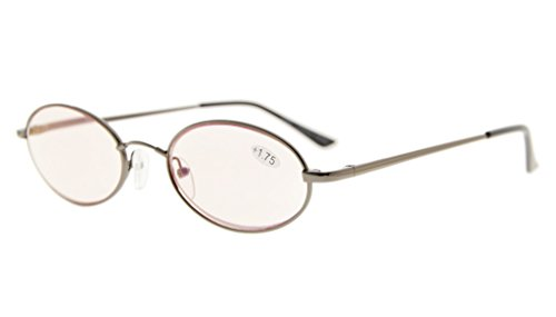 Eyekepper Computer Readers Titanium Memory Bridge Spring Hinges Oval Computer Reading Glasses Gunmetal (Oval Metal Reading Glasses)