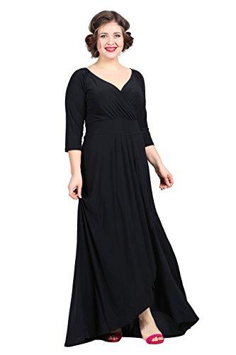 para Angelino vestido 3 manga Vestido 4 negro mujer H7FqaP7wn