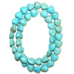 NG2616 Blue-Green Turquoise 10mm Flat Puffed Heart Magnesite Gemstone Beads 15