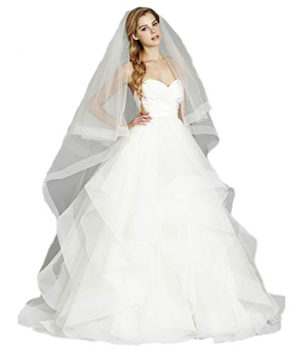 Passat Champagne Two-Tier 2M Chapel Circular Veil Edged with Horsehair VL-1028 ()