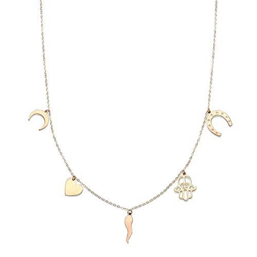 14k Yellow Gold Moon Heart Horseshoe Hamsa Horn Good Luck Charms Pendant Necklace and Bracelet Set
