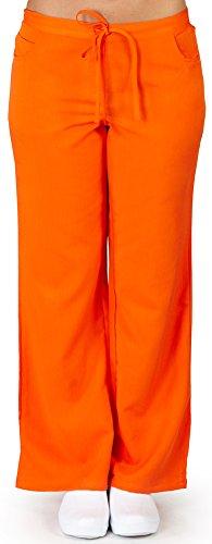 (Ultra Soft Brand Scrubs - Premium Womens Junior Fit 5 Pocket Scrub Pant, Orange 38487-X-Large)