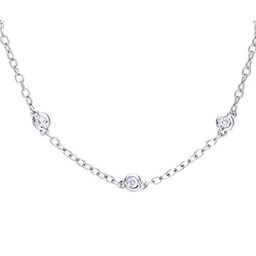 Revoni Bague en or blanc 9carats-Collier Femme-diamant, diamants 0,33carats