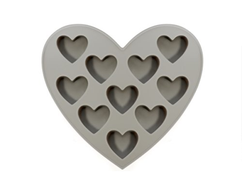 Grey Heart Mold Silicone 10 Cavities Stickless for Chocolate, Cake, Pudding, Soap, Jelly, Candy, Cookie - Bonus Ebook for Cupcake and Chocolate