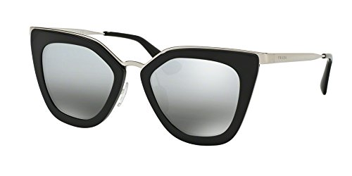 Prada Women's Metal Bridge Mirrored Sunglasses, Black/Silver - Eyes Prada Cat