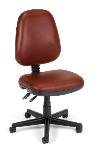 Computer Task Chair - Wine Vinyl - Hard Floor Casters ()