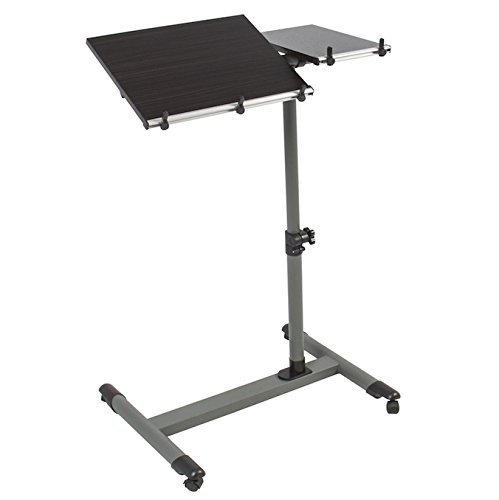 Rolling Laptop Table Lap Desk Notebook Tilting Splitting Tabletop Adjustable Height Swivel Wheels Overbed Desk TV Food Hospital Bed Tray Cart Steel stand With Powder Coated H-Base