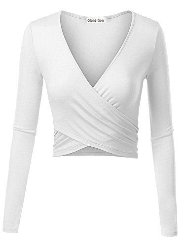 Glanzition Women's Long Sleeve Summer Crop T-Shirt Tops Blouse White S - Tight Long Sleeve Top